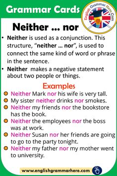 Grammar Cards – Using Neither … nor in English - English Grammar Here people English Verbs, English Phrases, Learn English Words, English English, English Study, Essay Writing Skills, English Writing Skills, Writing Words, Teaching English Grammar