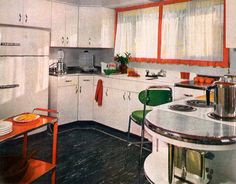 "A third ""pace-setter"" in 1950, this kitchen was chosen for its more traditional look. ""Traditionalists want a colorful and gay kitchen,"" according to House Beautiful editors back then. They wrote that the three pace-setters were ""revolutionary because they actually offer complete kitchens as they are wanted today, planned according to the best standards of efficiency, time- and labor- saving. And besides this, they are all colorful and cheerful, with a real decorative quality which is…"