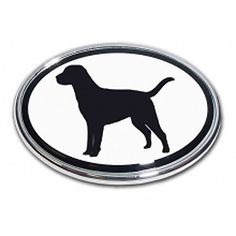 Lab Dog Emblem Sportsman Wildlife Game Retriever oval Real metal Chrome auto