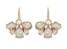 #VIVAAN #Slicediamond dangle  floral #earrings accented with #rosecutdiamond in #rosegold