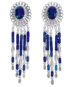 Hand Made Sterling Silver Azurite Clip On Dangle Concho Earrings www.silvertribe.com