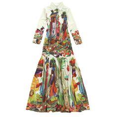 High Quality Newest Fashion Runway 2017 Designer Maxi Dress Women's Long Sleeve Vintage Pattern Printed Bohemian Long Dress