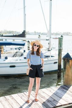 Boat neckline, boater hat, nautical stripes? I was definitely channeling my sailor style today, complete with a tucked-in top and high-waisted shorts.