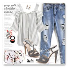 """Shein Grey Blouse"" by aysebt ❤ liked on Polyvore featuring WithChic, LORAC, MAC Cosmetics, Sheinside and shein"