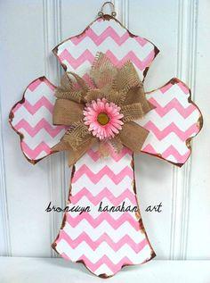 Pink Chevron Cross Door Hanger  Bronwyn by BronwynHanahanArt