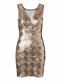 MAISE SL MINI DRESS #partydress #veromoda #glitter #gold @VERO MODA
