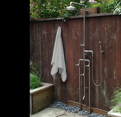 outdoor shower with industrial hardware