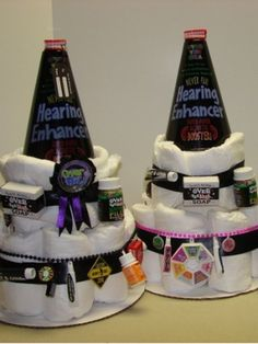 over the hill diaper cake made with adult diapers.  LOL..........