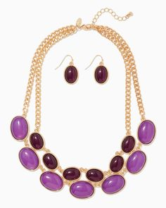 charming charlie | Layered Cabochon Necklace Set | UPC: 400000243030 #charmingcharlie