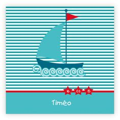 Faire part naissance pas cher : Voilier/rayures turquoise et motifs rouge Nike Logo, Logos, Motifs, Turquoise, Red Pattern, Sailboats, Stripes, Water, Paper