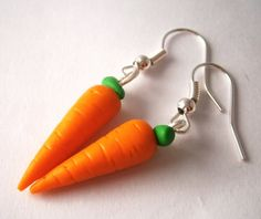 Carrot earrings/Miniature food earrings/Food jewelry/Polymer clay food