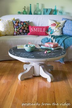Fun chalkboard painted pedestal table inspired by Pottery Barn