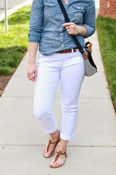 white jeans, jean shirt, chambray shirt, sandals, t strap sandals, american eagle outfitters, loft jeans, aeo bag, July 4th outfits, style, women, fashion, clothing, summer, shorts, red white and blue