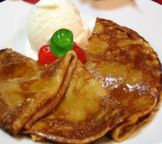 Crepes with Hot Buttered Rum Sauce