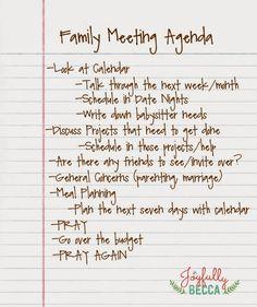 Joyfully Becca: Family Meeting Agenda