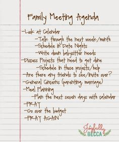 Joyfully Becca: Family Meeting Agenda