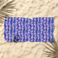 Seaweed Stripe, Blue & Violet Pattern Beach Towel by ClipsoCallipso  Abstract underwater design, stripes of seaweed and tiny fishes hiding between them. Ultramarine blue, ultra violet and white colours.   #seaweed #algae #underwater #underwaterdesign #nautical #patterndesign #stripedpattern #boldstripes #violet #ultraviolet #ultramarine #colouroftheyear #pantone #abstractnature #artprint #clipsocallipso #beachtowel #beachlife #towels #society6