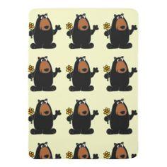 Black Bear Holding Daffodil Baby Blanket #bears #baby #blankets #daffodils #flowers #funny And www.zazzle.com/tickleyourfunnybone*