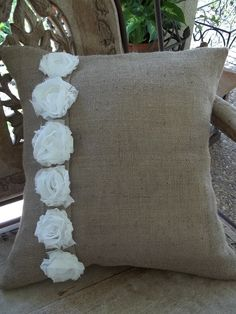 Shabby White Flowers on Burlap Pillow Slip