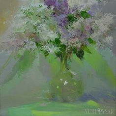 Green flower painting Lilacs oil painting Lilac green by Pysar