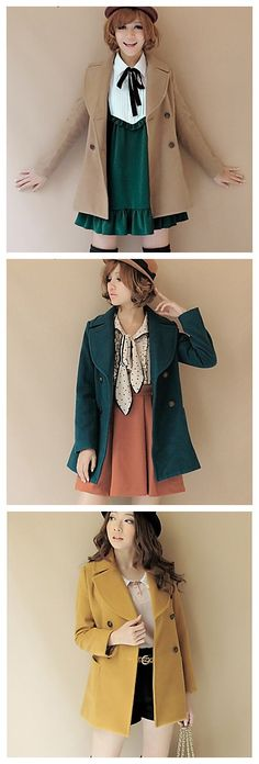 Casual V-Neck Long Sleeve coat, Japaneses fashion style.