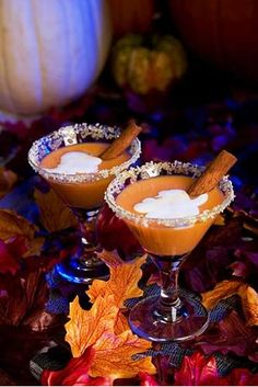 """Pumpkin Martinis! Mix 1 oz. Vanilla Vodka, ½ oz. Licor 43, 1 oz. pumpkin liqueur, ½ oz. Bailey's Irish Cream, a splash butterscotch Schnapps and ice. Shake, then pour and sprinkle with ¼ tsp. pumpkin pie spice. For added """"pie"""" effect, rim the glass with fresh lemon juice and crushed graham crackers."""