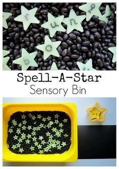 Sensory Bin Great sensory bin for preschool learning letter recognition and sight words! CVC and spelling!Great sensory bin for preschool learning letter recognition and sight words! CVC and spelling! Space Preschool, Space Activities, Preschool Classroom, Preschool Learning, Sensory Activities, In Kindergarten, Learning Activities, Preschool Activities, Alphabet Activities