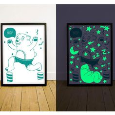 Glow in the dark Green bear poster. Silk screened print by omy design & play. This bear jumps around in the day and sleeps at night, illum. Green Bear, Dark Ink, Silk Screen Printing, Kids Store, Foil Stamping, Painting Edges, White Ink, Letterpress, Art Prints