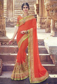 Shop orange georgette designer saree , freeshipping all over the world , Item code srcdad19