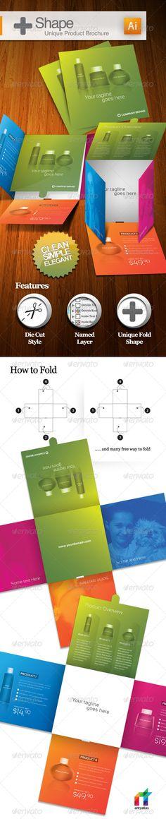 + Shape - Unique Product Brochure  #GraphicRiver   Elegant Unique Fold Shape suitable for any product.