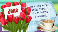 Jana Nech splnia sa Ti všetky priania, nech si šťastná a milovaná. Birthday Wishes, Letter Board, Congratulations, Lettering, Tableware, Blog, Special Birthday Wishes, Dinnerware, Tablewares