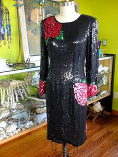 Black beaded dress roses patterned flapper by RetroVintageWeddings