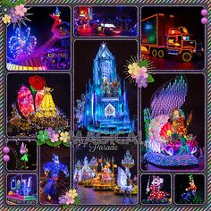 loved watching the Paint the Night Parade at Disneyland. This layout was made with Kellybell Design Spectrofun Kit and That Covers It Templates Vol Disney Scrapbook Pages, Digital Scrapbooking Layouts, Travel Scrapbook, Scrapbook Layouts, Walt Disney World Vacations, Disney Trips, Disneyland Parade, Disneyland Ideas, Scrapbook Background
