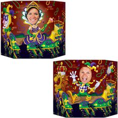 Buy Mardi Gras Photo Prop Become the Mardi Gras jester or queen by standing behind this Mardi Gras Photo Prop! One side pictures a Mardi Gras queen while the other side shows a jester.