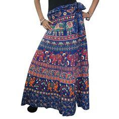 Mogulinterior Indi Wrap Around Skirt Blue Elephant Printed Cotton Long Maxi Skirt Open waist