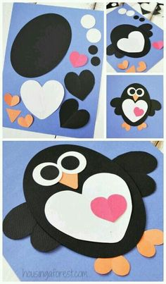 heart shapes into a penguin