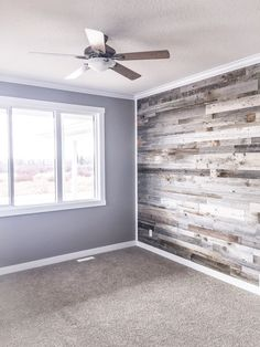 Amazing Barn wood veneer from Home Depot. Stunning addition to any room. Country Builders, Home Builders, Wood Veneer, Cross Country, Barn Wood, Home Depot, Blinds, Amazing, Wall