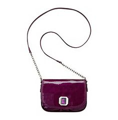 """Handbags. A shiny handbag featuring a single gemstone detail. Featured in violet Flap closure Magnetic snap pocket Adjustable crossbody Drop: 24"""" 9"""" x 1"""" x 6"""" Imported"""