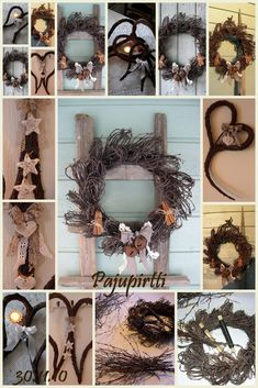 Pajupirtti: Risutyöt Door Wreaths, Grapevine Wreath, Willow Weaving, Christmas Time, Christmas Ornaments, Natural Christmas, Easter Wreaths, How To Make Wreaths, Natural Materials