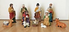 Vintage Christmas 11 Piece Hand Painted Porcelain Nativity Figurine Set #Unbranded
