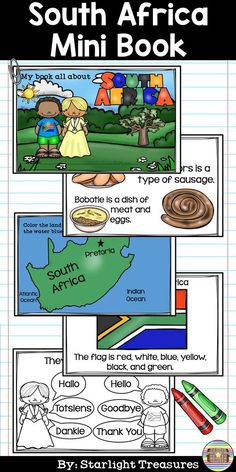 South Africa Mini Book for Early Readers - A Country Study Africa Activities For Kids, Fun Activities, Preschool Themes, Preschool Art, Classroom Themes, Heritage Day South Africa, South Africa Facts, Africa Flag, Lion Africa
