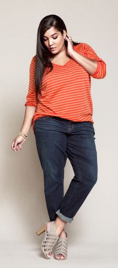 Psst...we LOVE the chiffon back on this cute striped v-neck long sleeve. #TorridSpring
