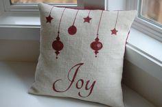 how to paint christmas pillow | Burlap Christmas pillow - Joy pillow cover - ornament pillow - oyster ...