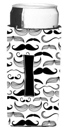 Letter I Moustache Initial Ultra Beverage Insulators for slim cans CJ2009-IMUK