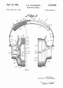 headphones patent print, headphones poster in the style white