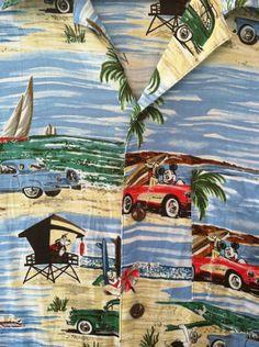 Mickey Mouse Hawaiian Aloha Shirt Walt Disney World Mens M Surf Beach Vacation | eBay