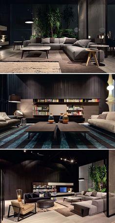Sofa, combinación de grises con chocolates. detalle de verde al final.