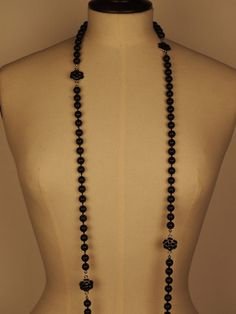 Opera Length Chanel-Like Black Pearl Vintage Necklace