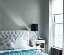 duck egg blue + grey love. great alternative to yellow as an accent color.