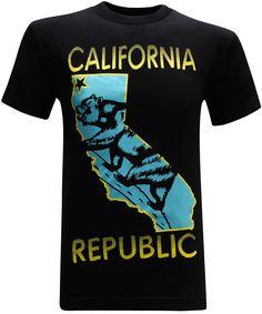 California Republic State Bear Turquoise Men's T-Shirt